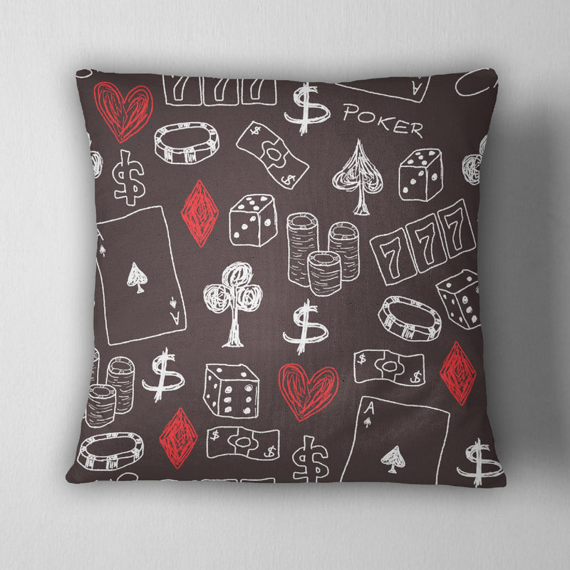 Poker Gambling Las Vegas Decorative Throw Pillow Cover