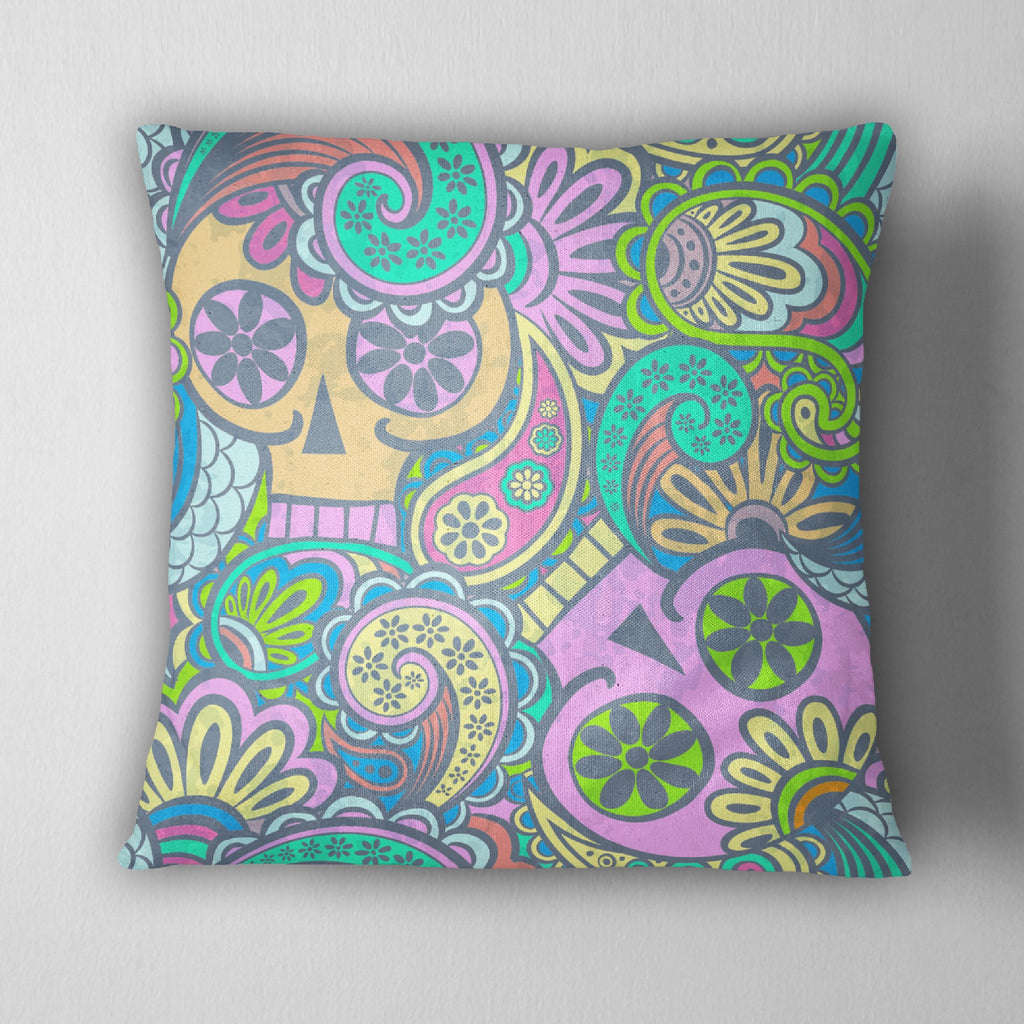 Psychedelic Skull Decorative Throw Pillow