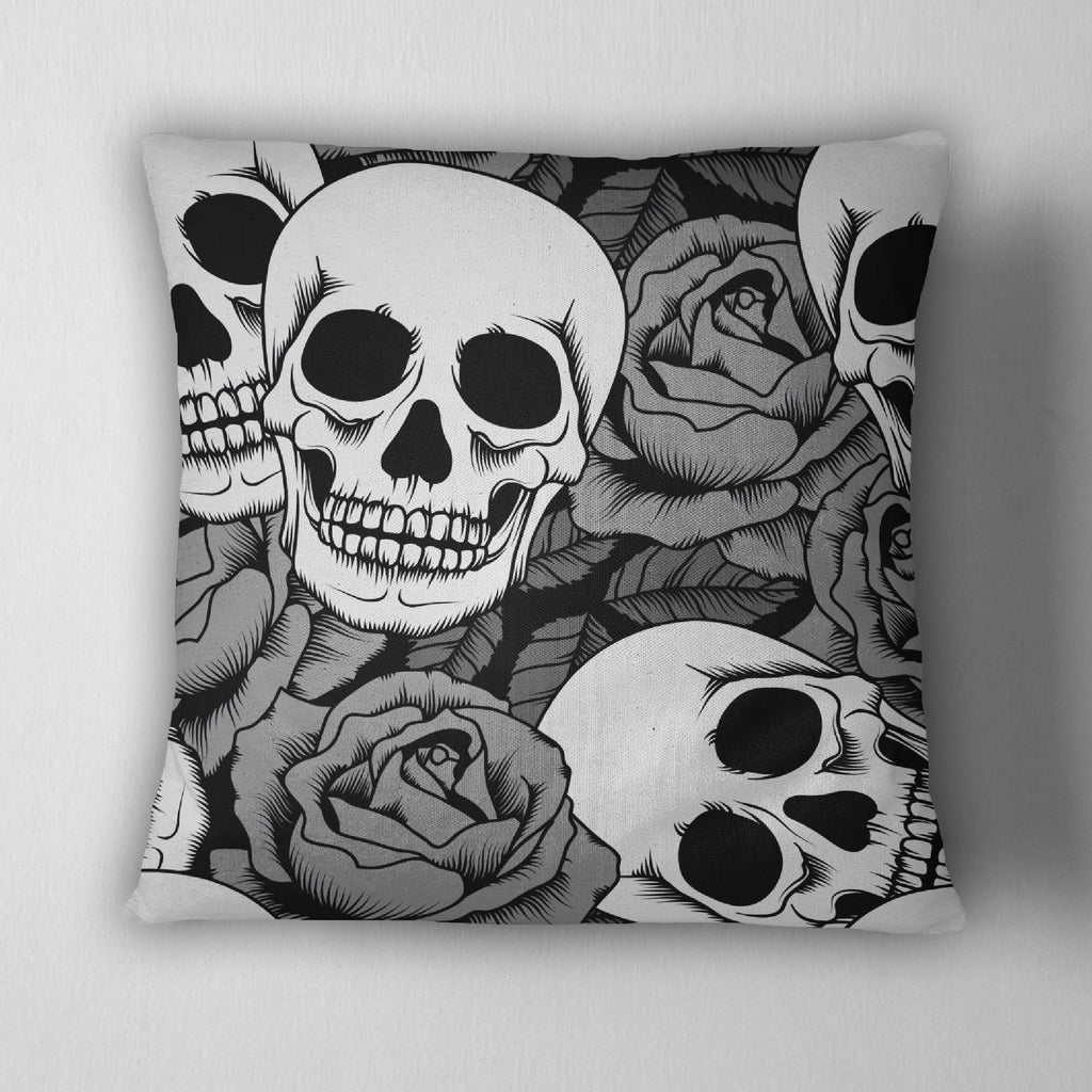 Silver Rose Skull Throw Pillow