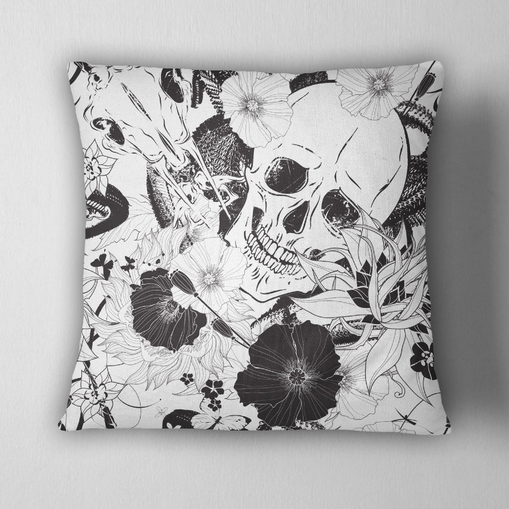 Striking Black & White Skull Decorative Throw Pillow Cover