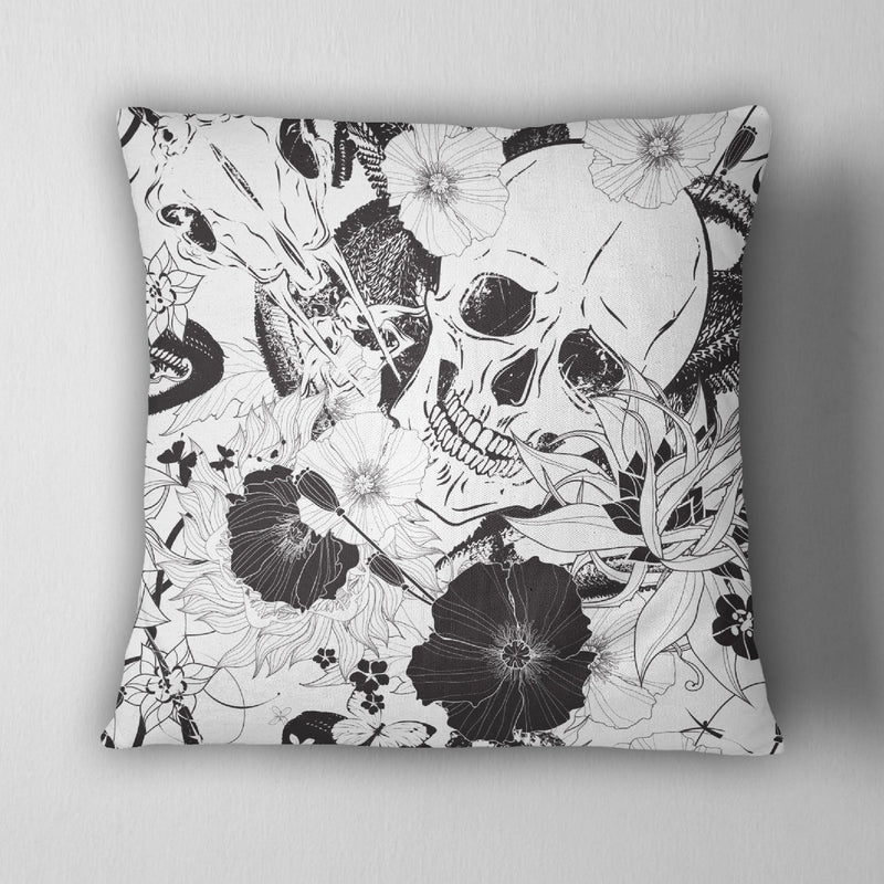 Striking Black & White Skull Decorative Throw Pillow