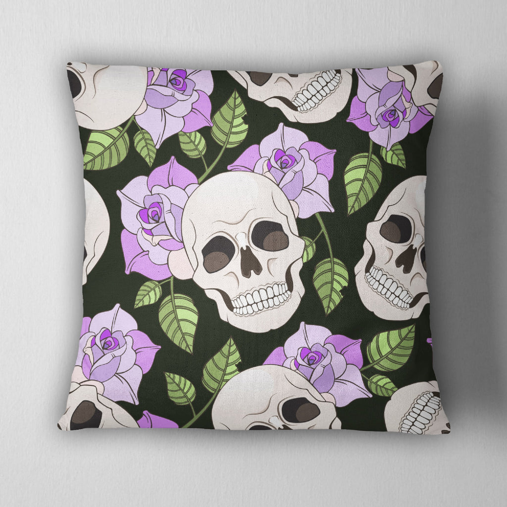 Purple Roses and Skull Decorative Throw Pillow