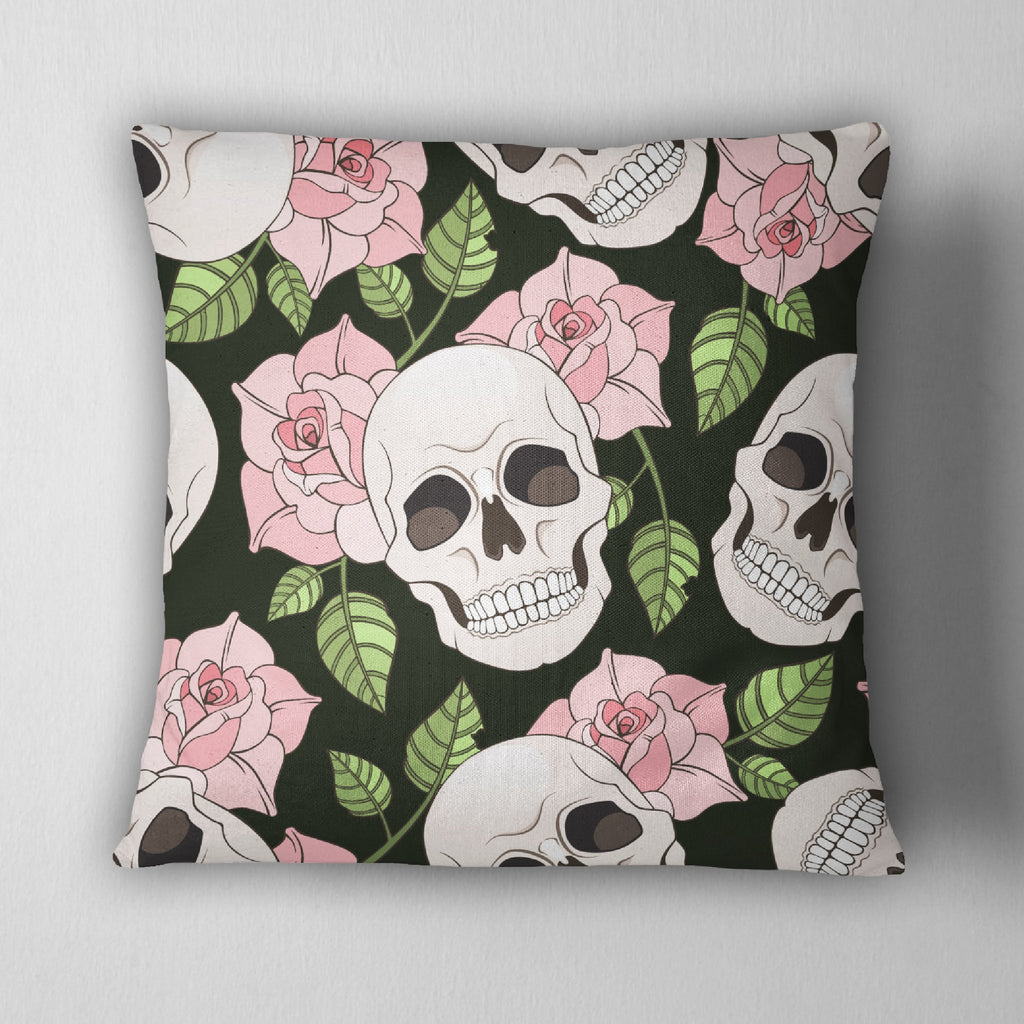 Skull with Pink Roses Decorative Throw Pillow Cover