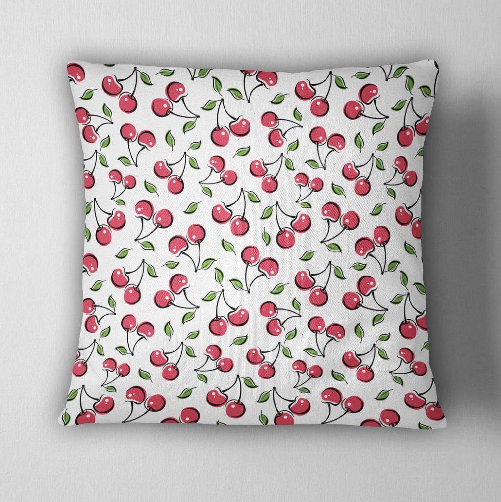 Rockabilly Cherries Decorative Throw Pillow Cover