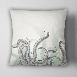 Pastel Watercolor Octopus Tentacle Decorative Throw Pillow Cover