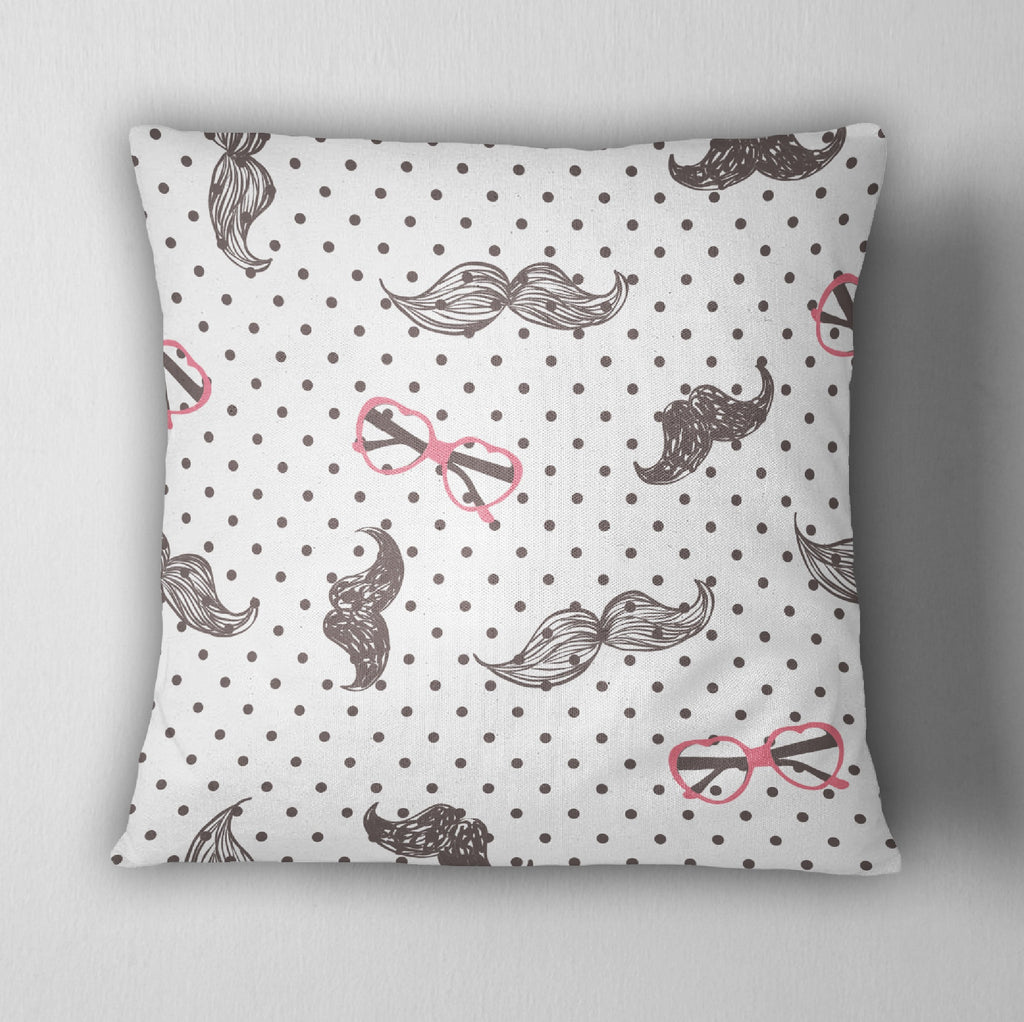 Hipster Polka Dot Mustache and Heart Sunglasses Decorative Throw Pillow Cover