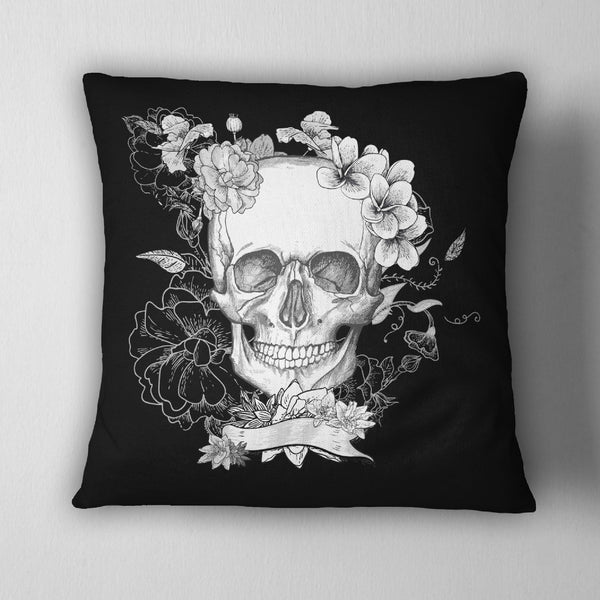 Black Flower Skull Decorative Throw Pillow Ink And Rags