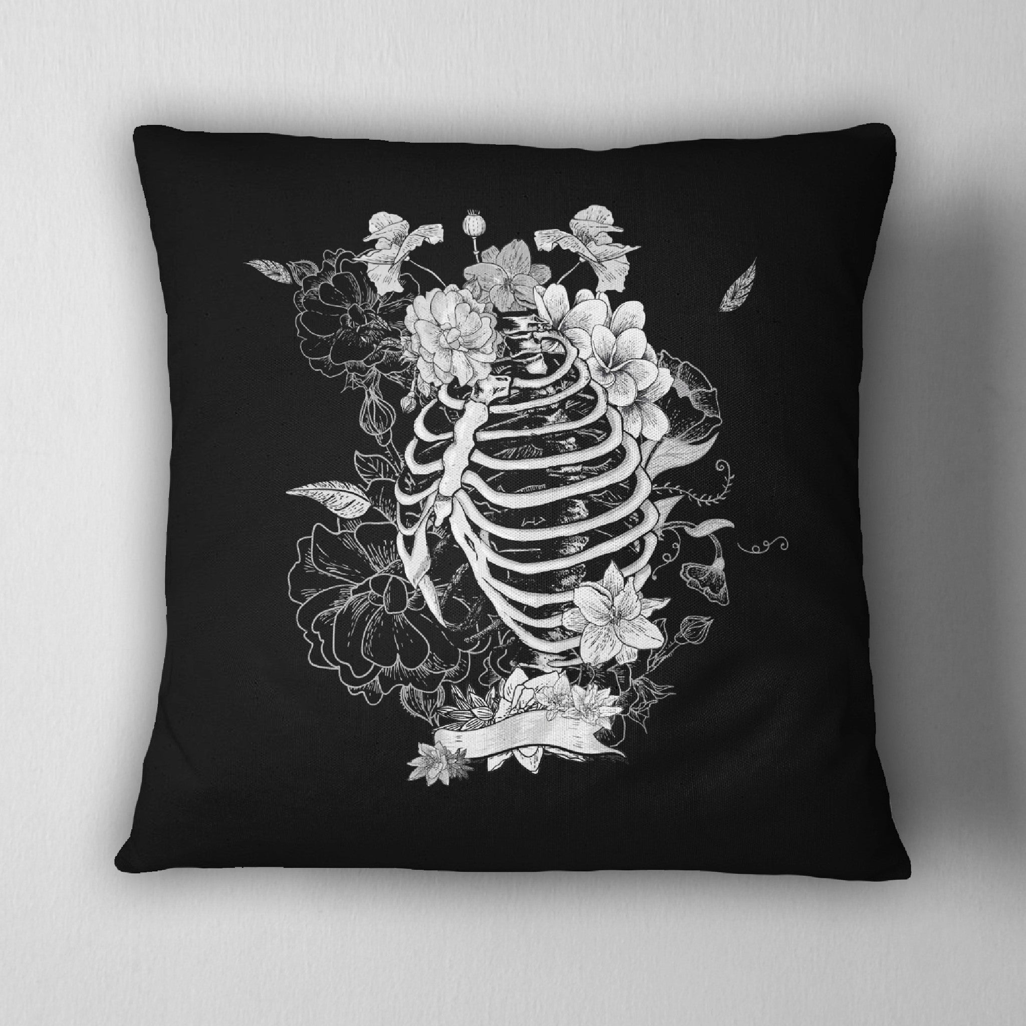 Black Flower Torso Skeleton Decorative Throw Pillow - Ink and Rags