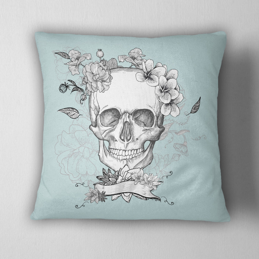 Ice Blue Floral Skull Throw Pillow
