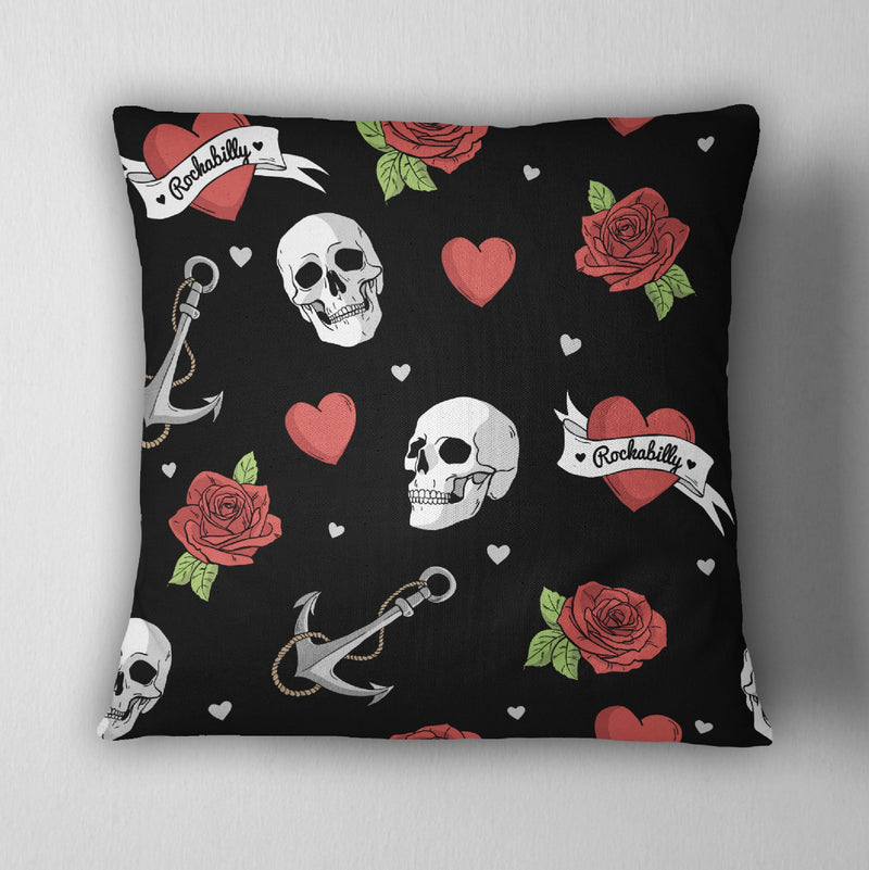 Black Rockabilly Heart Skull Anchor Decorative Throw Pillow Cover