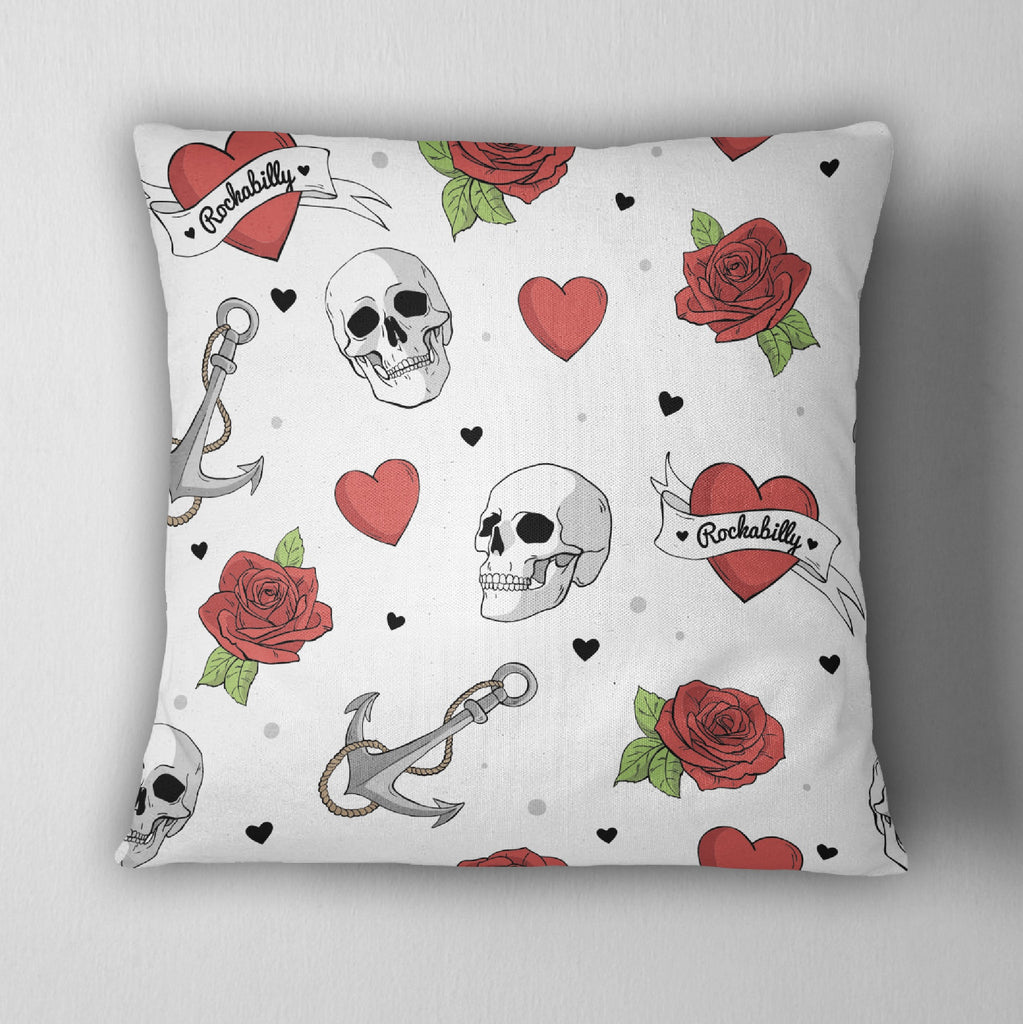 White Rockabilly Heart Skull Anchor Decorative Throw Pillow