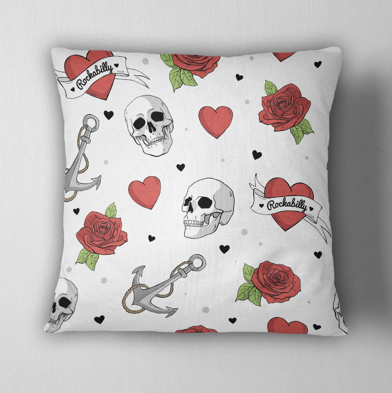 White Rockabilly Heart Skull Anchor Decorative Throw Pillow Cover