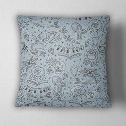 Hand Drawn Tattoo Decorative Throw Pillow Cover