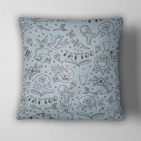 Hand Drawn Tattoo Decorative Throw Pillow