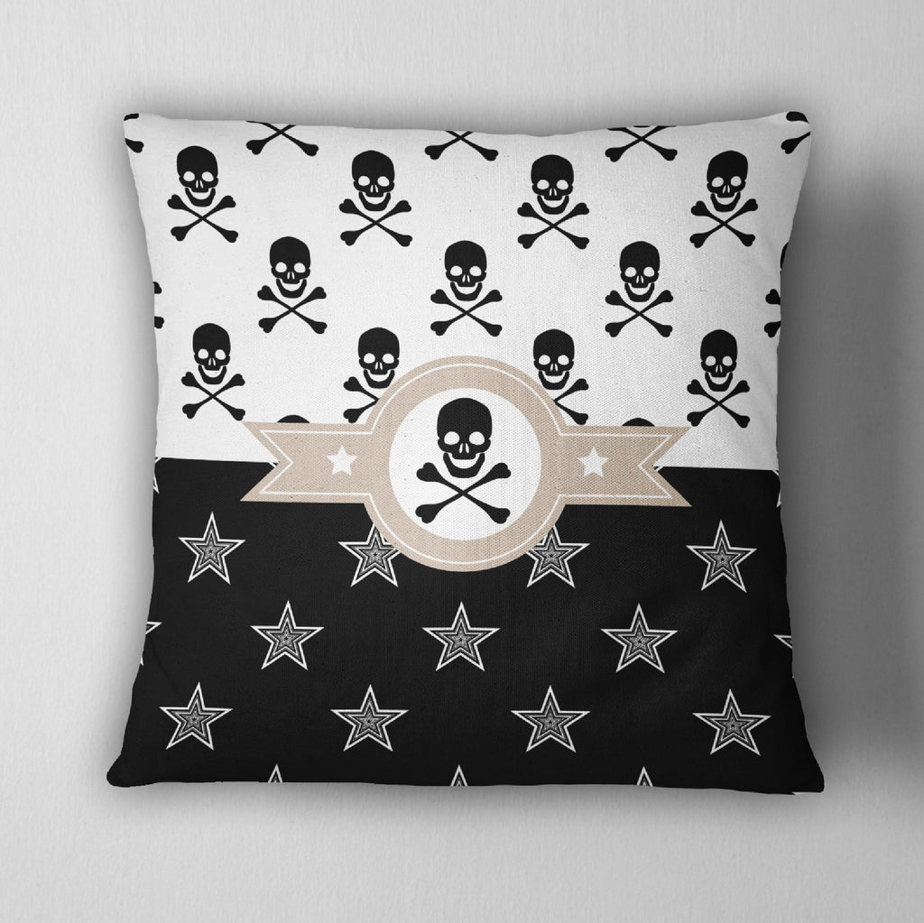 Jolly Roger Texas Star Skull Decorative Throw Pillow Cover