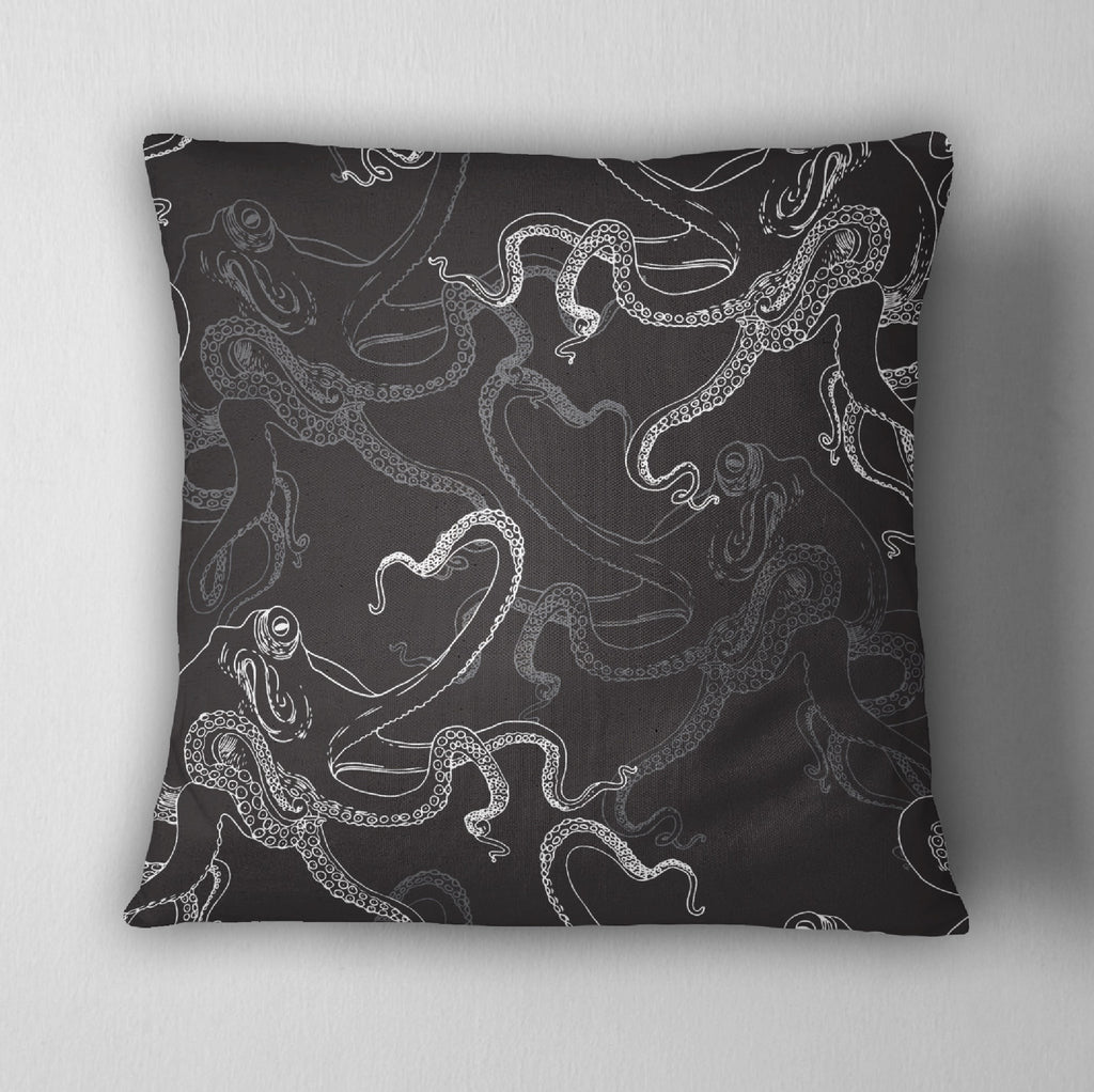 Black Octopus Throw Pillow