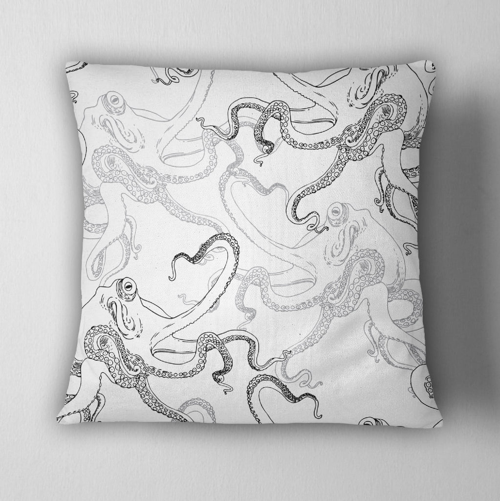 White Octopus Decorative Throw Pillow