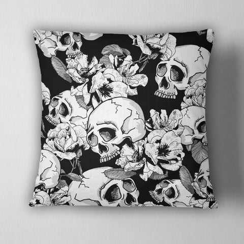 Black and White Flower Skull Decorative Throw Pillow