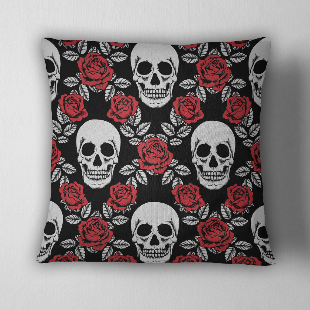 Red Rose and Silver Skull Decorative Throw Pillow Cover