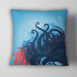 Ocean Blue Octopus Tentacle Decorative Throw Pillow Cover
