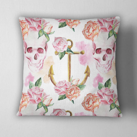 Watercolor Pink Rose Skull & Anchor Decorative Throw Pillow