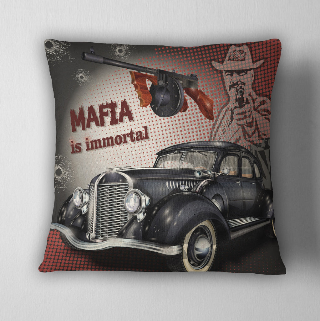 Mafia is Immortal Gangster Style Throw Pillow