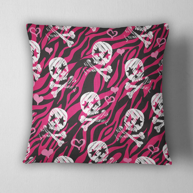 Hot Pink Zebra Rock Star Skull Decorative Throw Pillow Cover