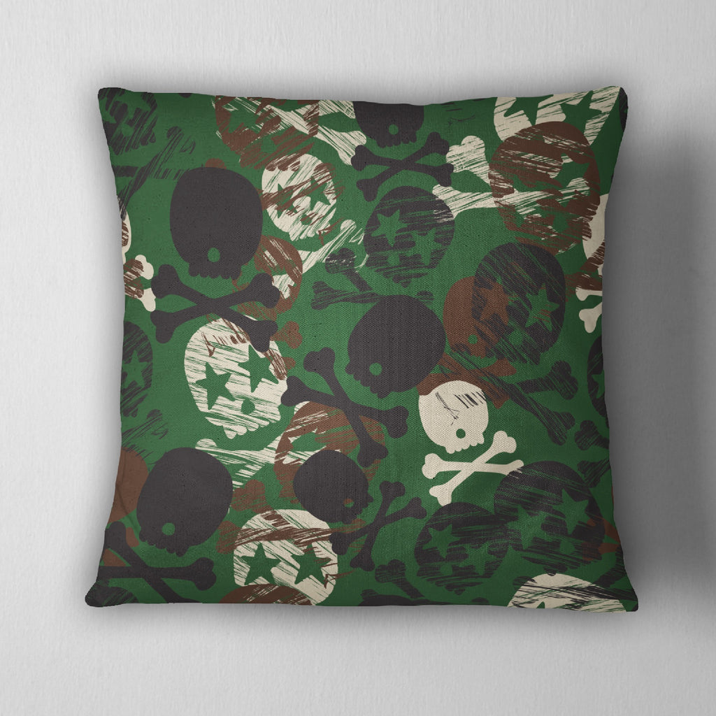 Camo Rock Star Skull Decorative Throw Pillow