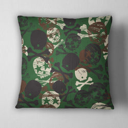 Camo Rock Star Skull Decorative Throw Pillow Cover