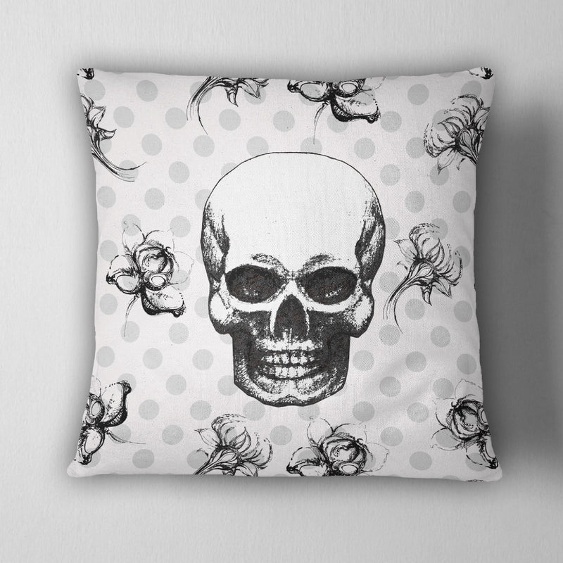 Black white & Grey Polka Dot Flower Skull Decorative Throw Pillow Cover