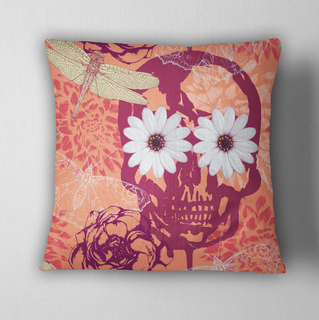 Tangerine Skull Daisy & Dragonfly Decorative Throw Pillow