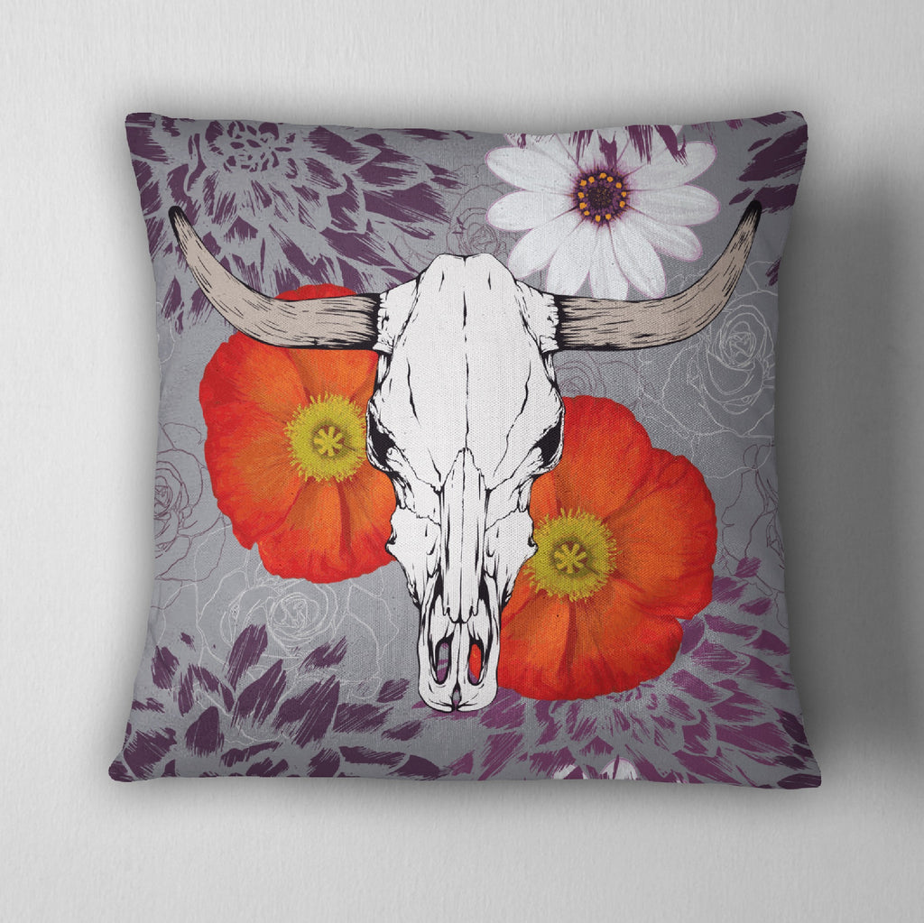 Purple Longhorn Skull with Poppy & Daisy Decorative Throw Pillow