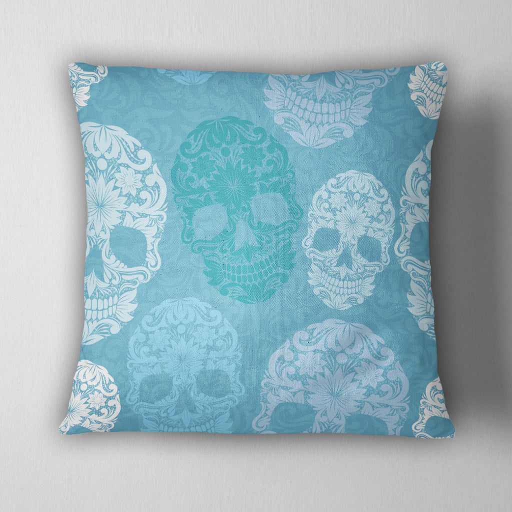 Shades of Blue Sugar Skull Decorative Throw Pillow