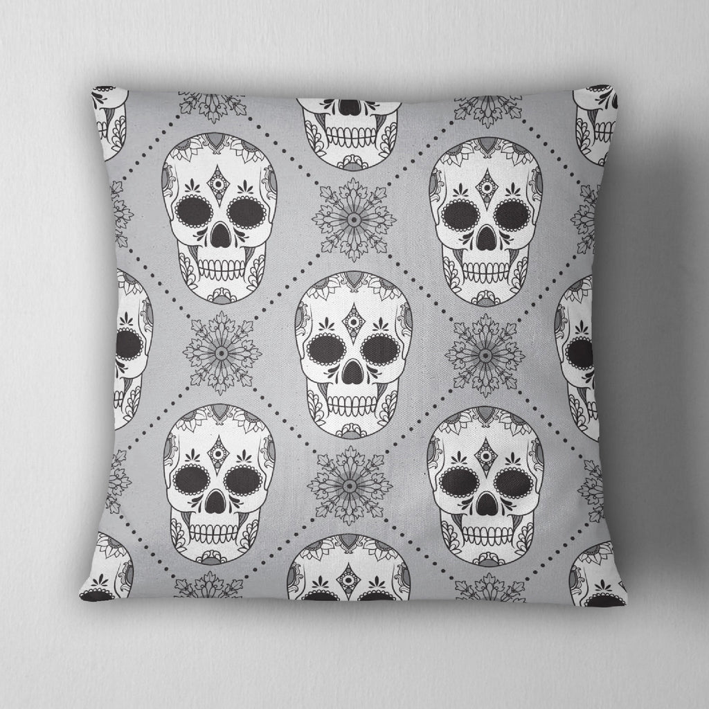 Black White and Silver Harlequin Sugar Skull Decorative Throw Pillow