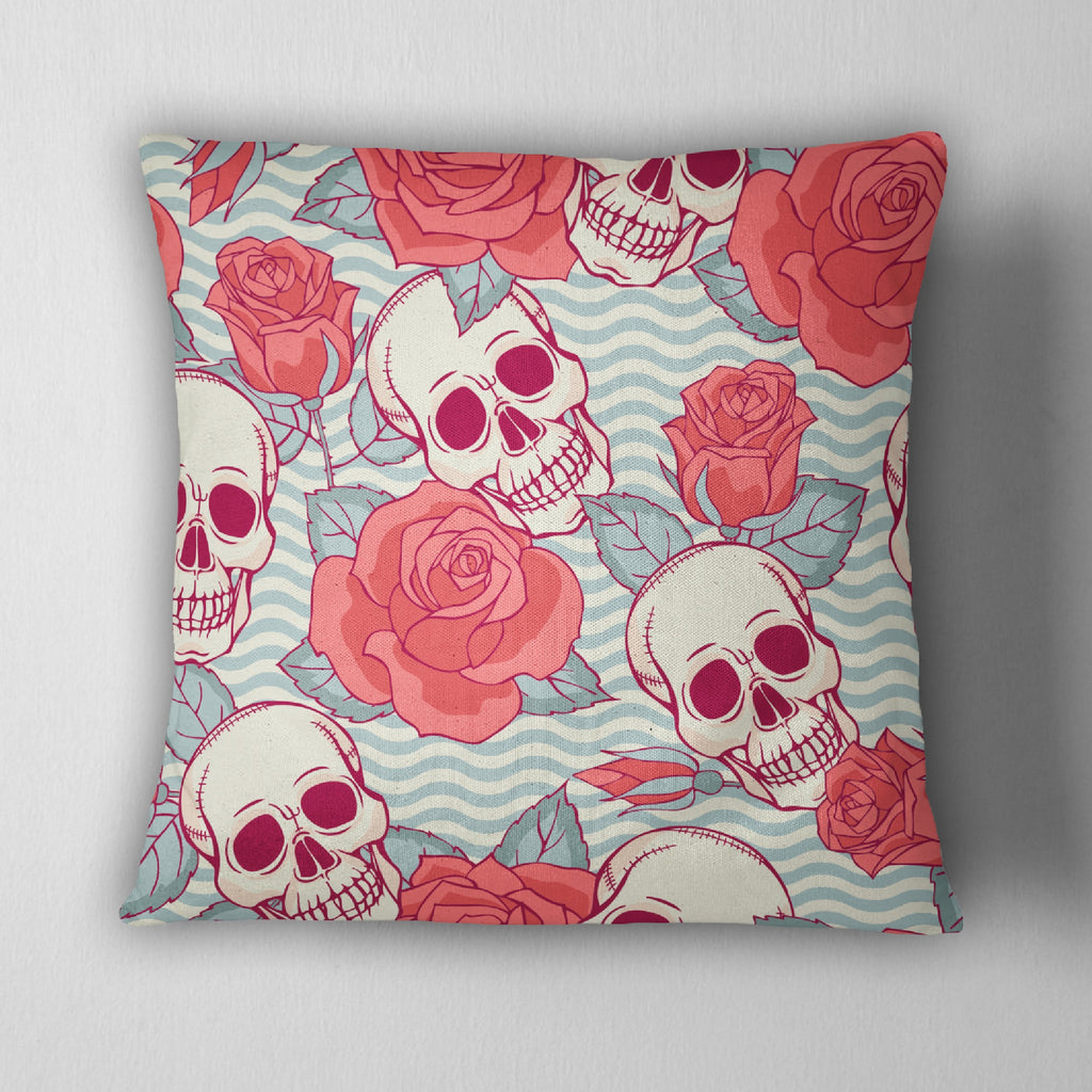 Coral Rose and Blue Wave Skull Throw Pillow