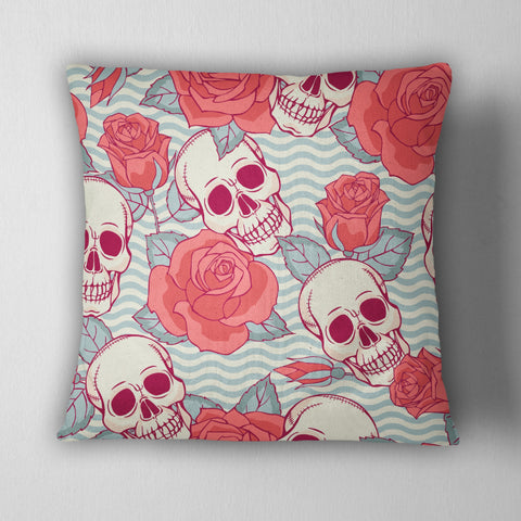 Coral Rose and Blue Wave Skull Decorative Throw Pillow