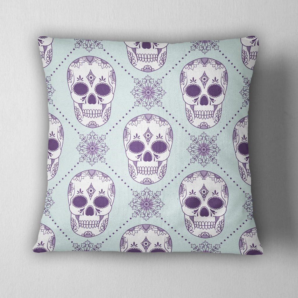 Ice Blue and Purple Sugar Skull Throw Pillow