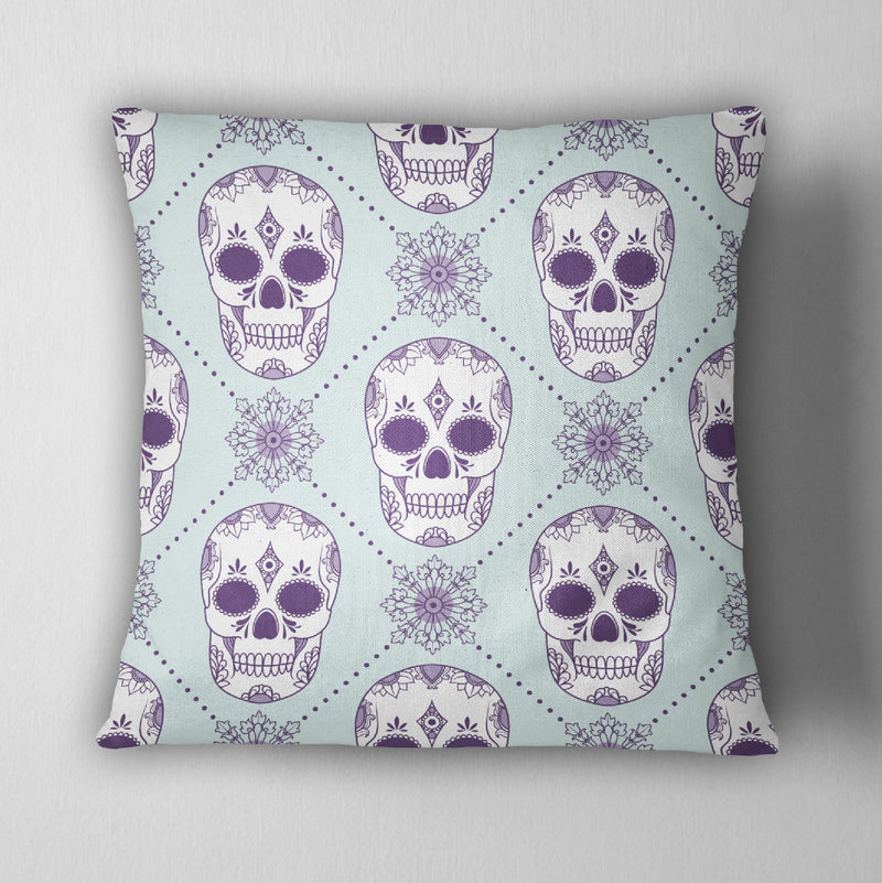 Ice Blue and Purple Sugar Skull Decorative Throw Pillow Cover