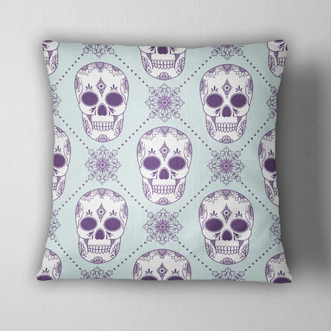 Ice Blue and Purple Sugar Skull Decorative Throw Pillow