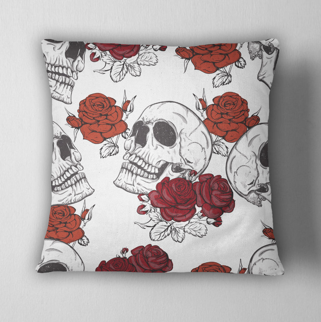 Black, White and Shades of Red Rose Skull Decorative Throw Pillow