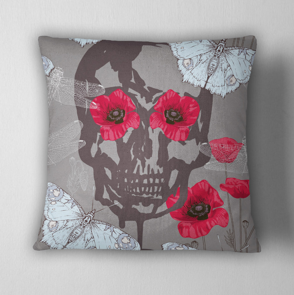Ice Blue Moth, Poppy & Skull Decorative Throw Pillow