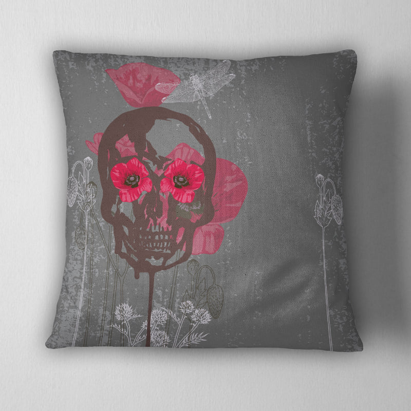 Poppy & Skull Decorative Throw Pillow