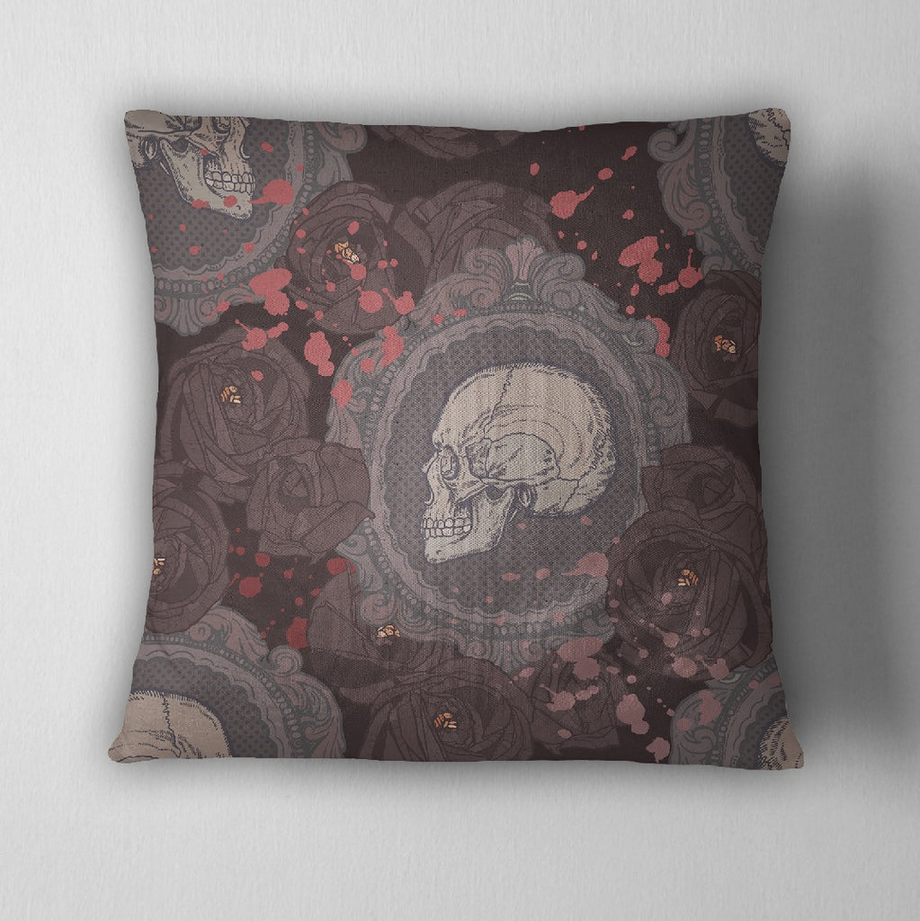 Dark Rose Cameo Skull Throw Pillow