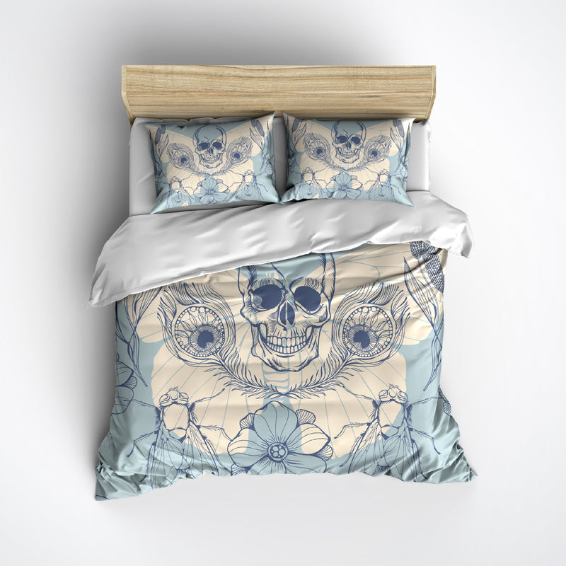 Peacock Feather Cornflower Blue and Cream Skull Bedding