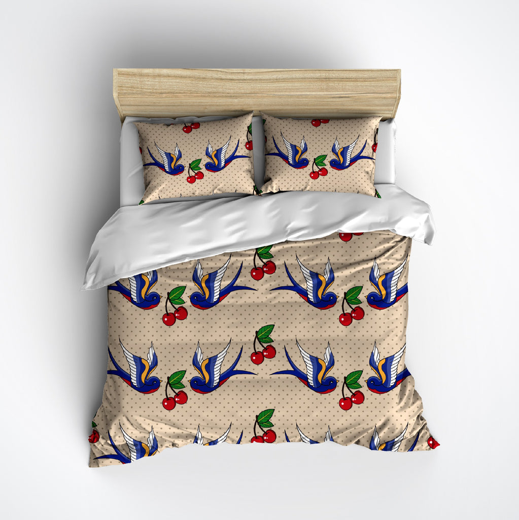 Rockabilly Cherries & Swallows Duvet Bedding Sets