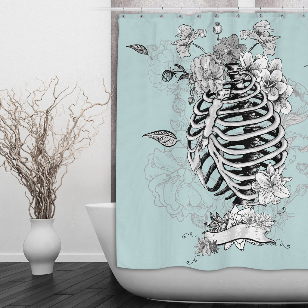 Ice Blue Torso Skeleton and Flower Shower Curtains and Optional Bath Mats