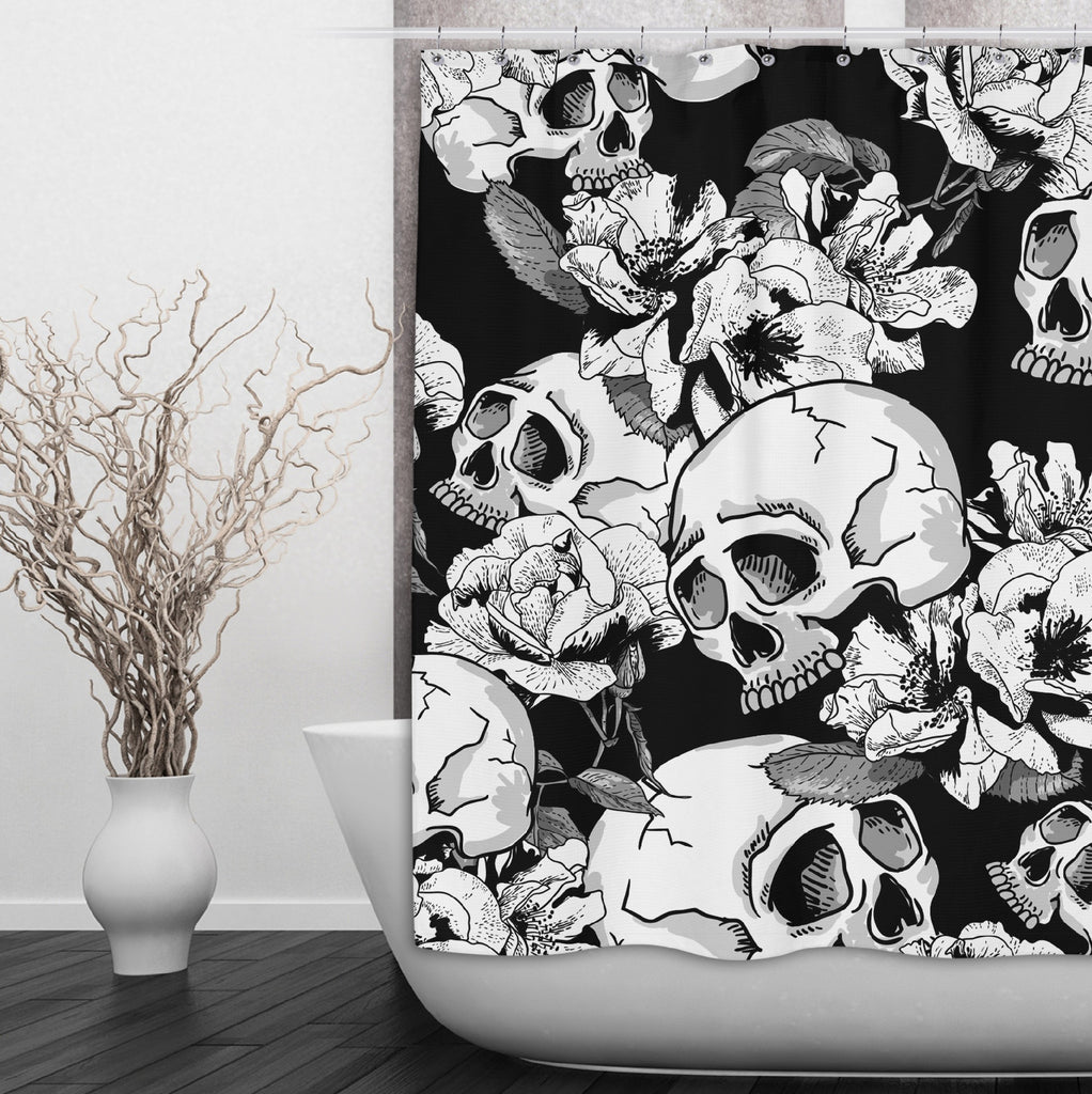 Sexy Black Skull and Flower Shower Curtains and Optional Bath Mats