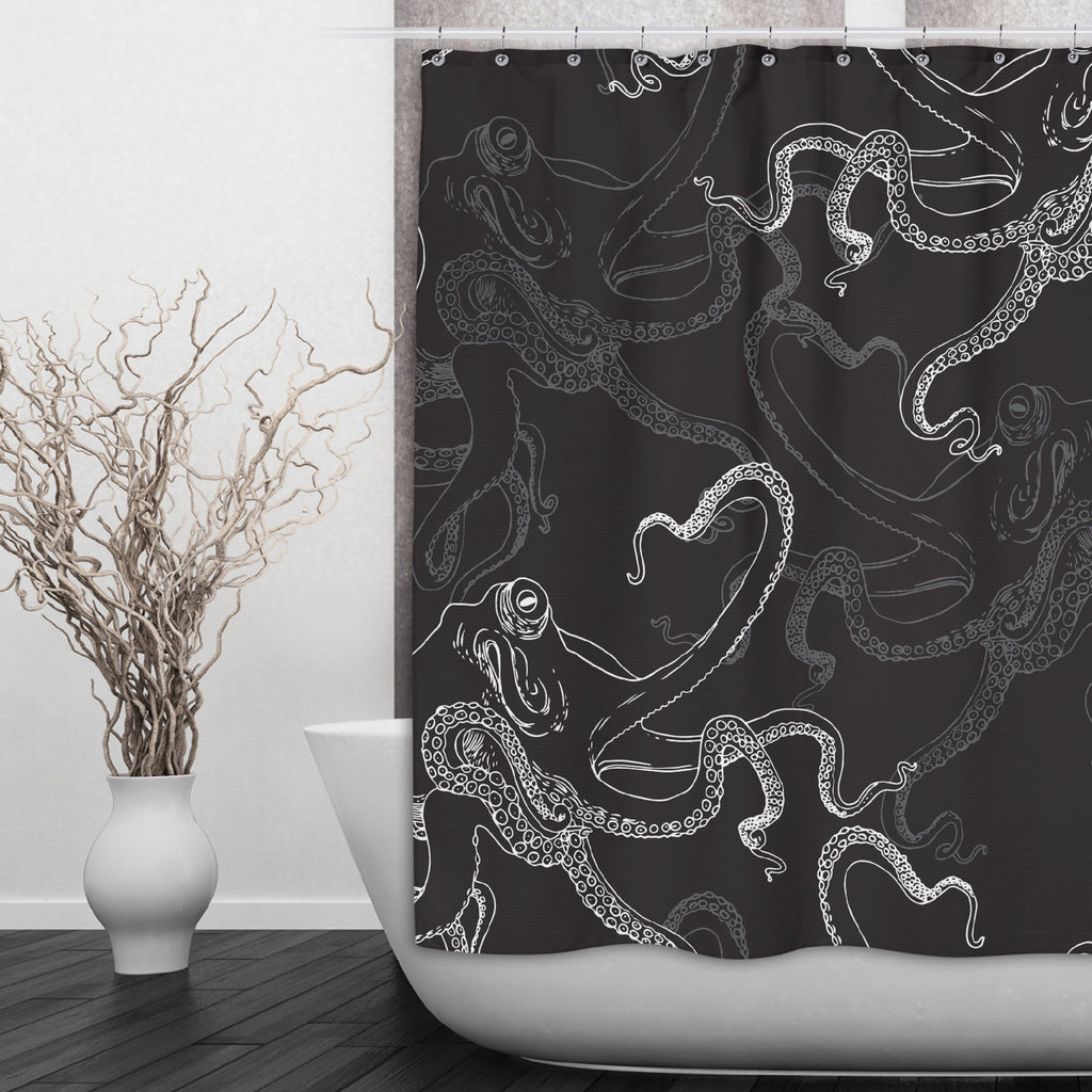 White on Black Octopus Shower Curtains and Optional Bath Mats