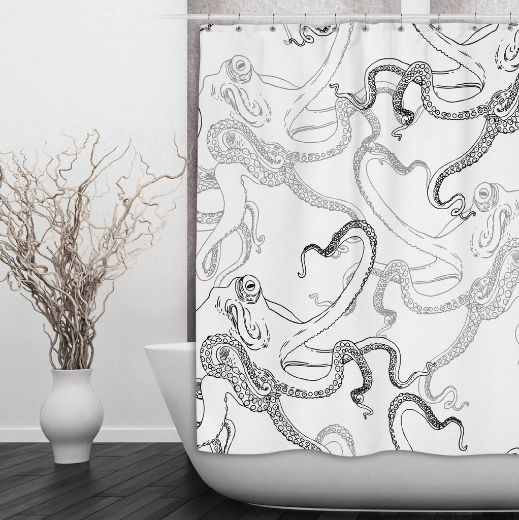 Black on White Octopus Shower Curtains and Optional Bath Mats