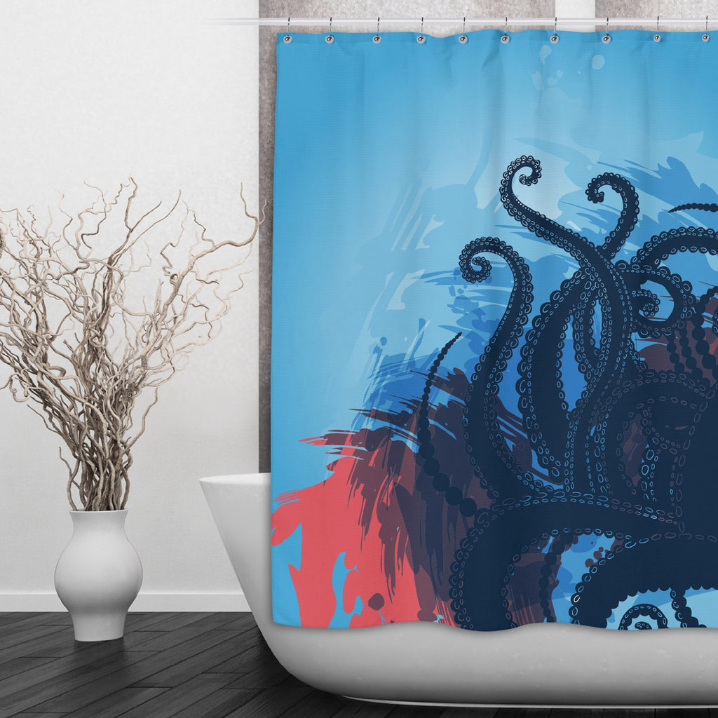 Deep Blue Sea Octopus Tentacle Shower Curtains and Optional Bath Mats